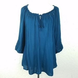 One World Women top size M teal scoop neck long sl